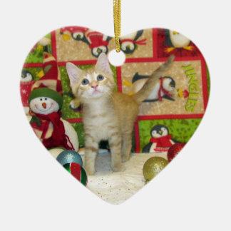 Weihnachtskätzchen Keramik Ornament