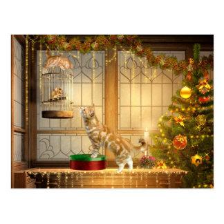 WeihnachtsKätzchen und -maus Postkarte
