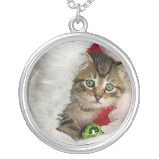 Weihnachtskatze - Kätzchenkatze - niedliche Katzen Versilberte Kette