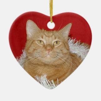 Weihnachtskatze Keramik Ornament