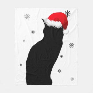 Weihnachtskatze mit Schnee-Fleece-Decke Fleecedecke
