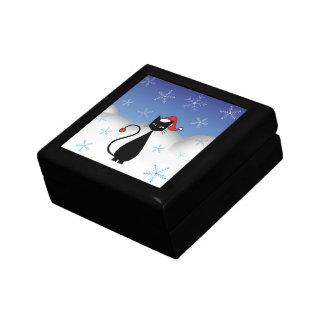 Weihnachtskatze mit Schneeflocken Geschenkbox