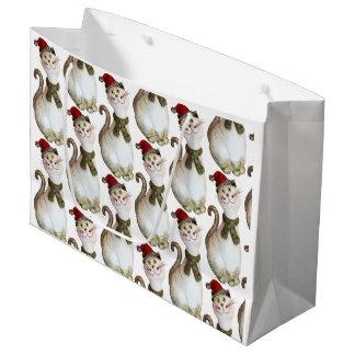 Weihnachtskatzen-Geschenk-Tasche Große Geschenktüte