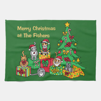 Weihnachtskatzen Geschirrtuch