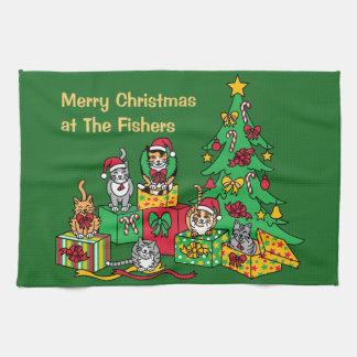 Weihnachtskatzen Küchentuch