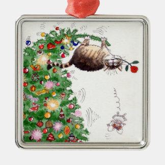 Weihnachtskatzen-Problem Quadratisches Silberfarbenes Ornament