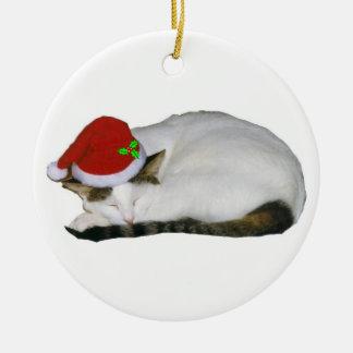Weihnachtskatzen-Träume Rundes Keramik Ornament