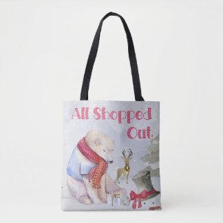 Weihnachtskaufender schläfriger Bär Tasche