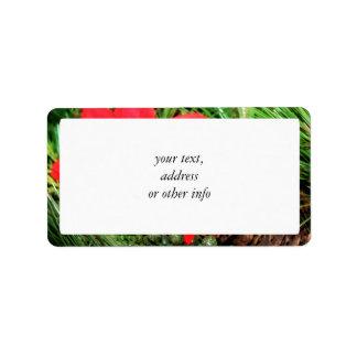 Weihnachtskiefern-Kegel u. Poinsettia Adressetiketten