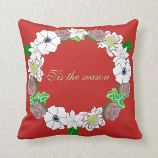 Weihnachtskissen, das einen BlumenKranz Kissen