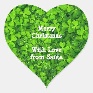 WeihnachtsKleeblatt-Klee-Grün-Iren Irland Herz-Aufkleber