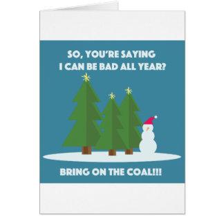 Weihnachtskohle Grußkarte