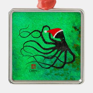 Weihnachtskrake 2 - erstklassige quadratische silbernes ornament