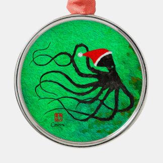Weihnachtskrake 2 - erstklassige runde Verzierung Silbernes Ornament