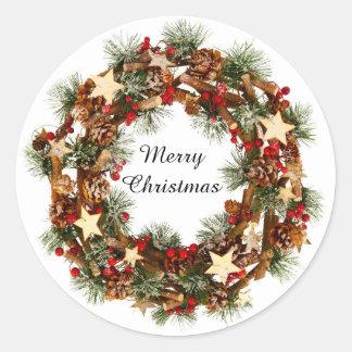 WeihnachtsKranz, frohe Weihnacht-Aufkleber Runder Aufkleber