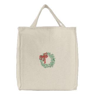 WeihnachtsKranz gestickte Tasche