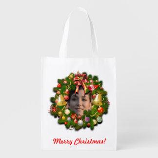 WeihnachtsKranz mit Ihrem eigenen Bild nach innen Wiederverwendbare Einkaufstasche