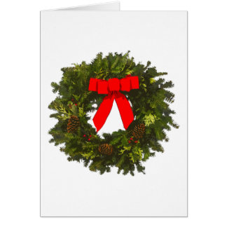 WeihnachtsKranz mit Kiefern-Kegeln und rotem Bogen Karte