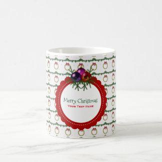 WeihnachtsKranz-Muster mit Stechpalmen-Gewohnheit Kaffeetasse