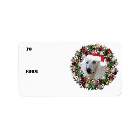 WeihnachtsKranz-Pudel-Geschenk-Aufkleber Adressetikett