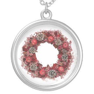 WeihnachtsKranz-Rosa Halskette Mit Rundem Anhänger