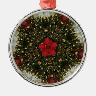 WeihnachtsKranz-rotes grünes Gold mit rotem Stern Silbernes Ornament