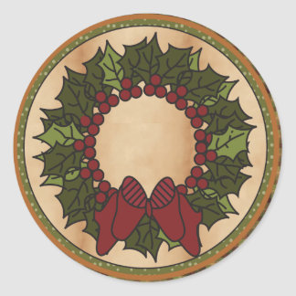 WeihnachtsKranz Runder Aufkleber