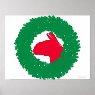 WeihnachtsKranz-u. -lama-Weihnachtskarte und -mehr Poster
