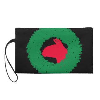 WeihnachtsKranz-u. -lama-Weihnachtskarte und -mehr Wristlet Handtasche