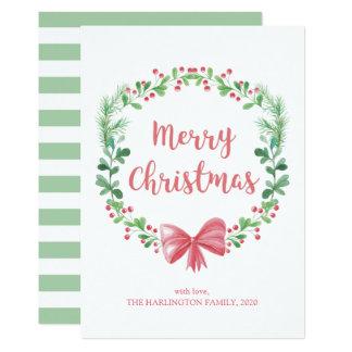 WeihnachtsKranz. Winterurlaub. Grün und Rot Karte