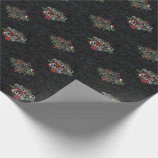 Weihnachtskreide und Rosen-Verpackungs-Papier Geschenkpapier