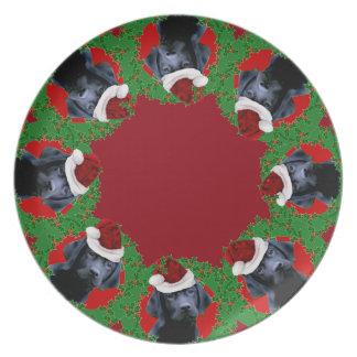 Weihnachtslabrador-Hundeabendessen platej Teller