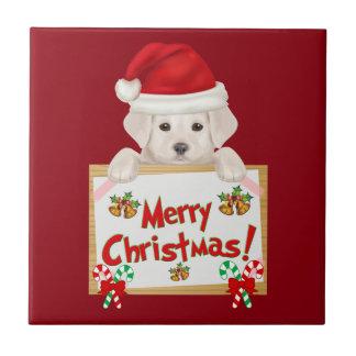 Weihnachtslabrador-Welpe! Für Welpen-Liebhaber! Keramikfliese