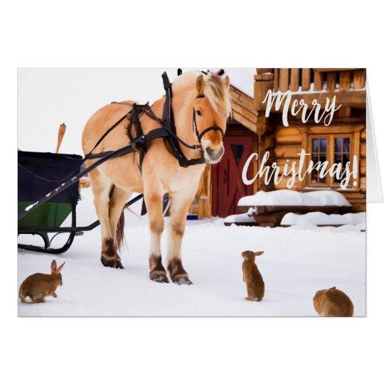Weihnachtsland-Bauernhof Idyll im Freien im Schnee Karte