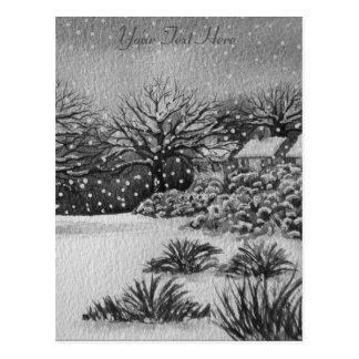 Weihnachtsländliche Hüttenschnee-Szenenkunst Postkarte