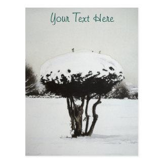 Weihnachtslandschaftsschneeszenen-Vorlagenkunst Postkarte