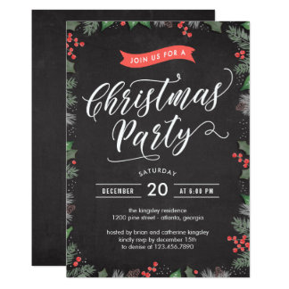 Weihnachtslaub EDITABLE FARBEParty Einladung