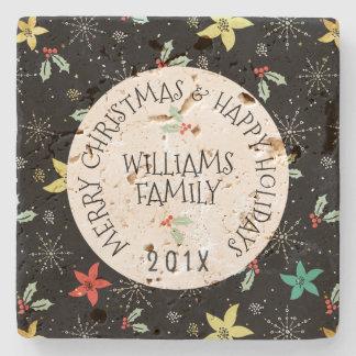 Weihnachtslaub u. Blumen-Muster-Text-Schablone Steinuntersetzer
