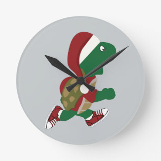 Weihnachtslaufende Schildkröte Runde Wanduhr