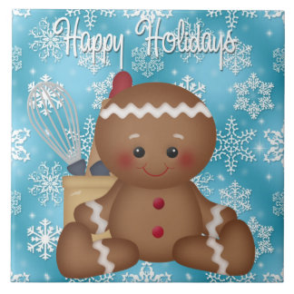 Weihnachtslebkuchen-Feiertags-Cartoonfliese Keramikfliese