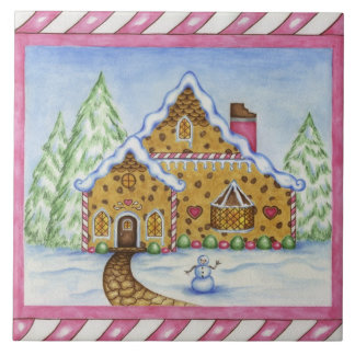 Weihnachtslebkuchen-Haus-Küche Trivet Geschenk Keramikfliese