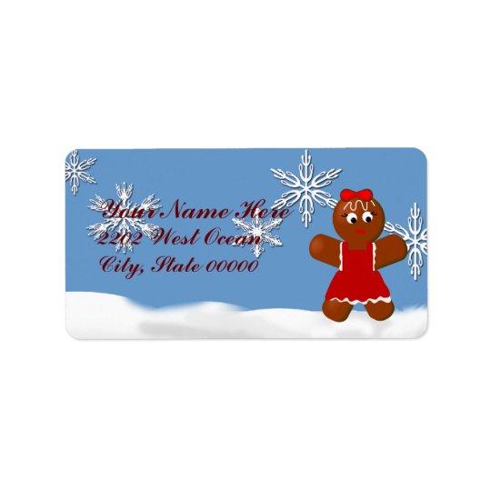 Weihnachtslebkuchen-Mädchen-Adressen-Etikett Adressaufkleber