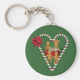 Weihnachtslebkuchen-Mann-Feiertag Keychain Standard Runder Schlüsselanhänger