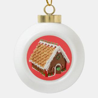 Weihnachtslebkuchen-u. -Zuckerstange-Haus Keramik Kugel-Ornament