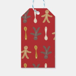Weihnachtslebkuchenmänner u. Gerät-Druck Geschenkanhänger