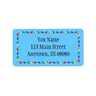 Weihnachtslicht-Grenzadressen-Etiketten (blau) Adressaufkleber