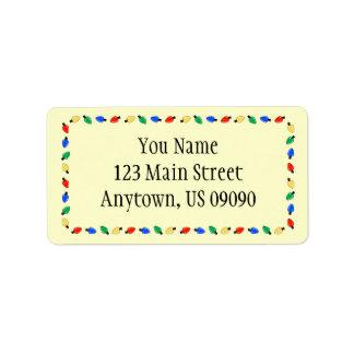 Weihnachtslicht-Grenzadressen-Etiketten (Gelb) Adressaufkleber