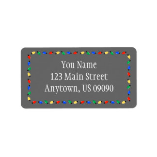Weihnachtslicht-Grenzadressen-Etiketten (grau) Adressaufkleber