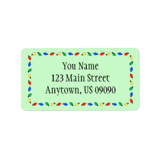 Weihnachtslicht-Grenzadressen-Etiketten (Grün) Adressaufkleber