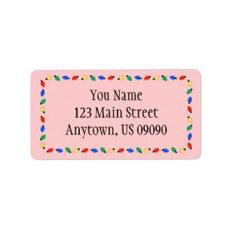 Weihnachtslicht-Grenzadressen-Etiketten (rot) Adressaufkleber